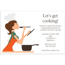 Pretty Chef Cooking Party Invitation