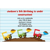 Dump Truck Construction Invitation - Triple