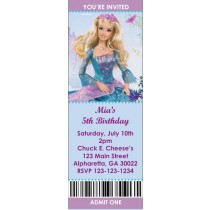 Barbie Princess Ticket Style Invitations (2.5x7)