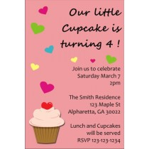 Cupcake with Hearts Invitation (No Photo)