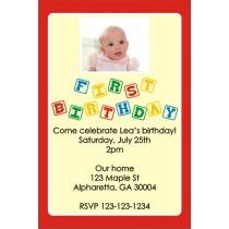 1st (First) Birthday Photo Invitation (Blocks) ALL COLORS