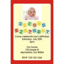 2nd Second Birthday Photo Invitation (Blocks) ALL COLORS