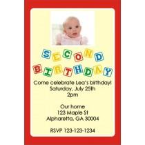2nd Second Birthday Photo Invitation (Blocks) ALL COLORS