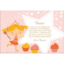 Cupcake Fairy Princess Thank You Card - Starry Pink