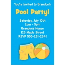 Pool Party Invitations 7  - Boy Pool Party
