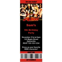 WWE Raw Wrestling Ticket Style Invitations (2.5x7)