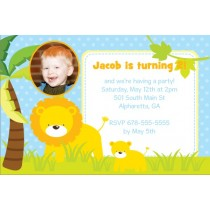Jungle Fun Photo Invitation  - Lion and Cub