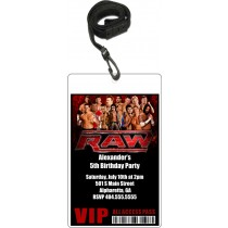 WWE Raw Wrestling VIP Pass Party Invitation w Lanyard