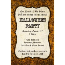 Orange Spider Web Halloween Party Invitation