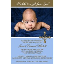 Communion / Baptism Photo Invitation 5 - Blue