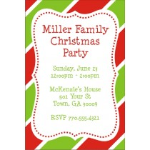 Christmas Stripes Party Invitation