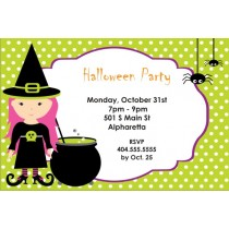 Pink Hair Witch Halloween Party Invitation