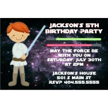 Star Wars Inspired Jedi Invitation -Red Hair