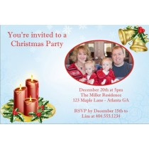 Christmas Candles Holiday Card Party Invitation - PHOTO