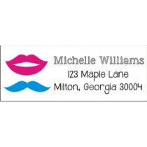 Gender Reveal Mustache Lips Return Address Labels