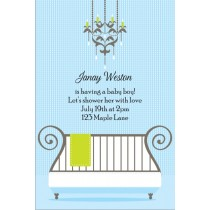 Cute Crib Baby Shower Invitation - Blue