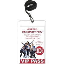Vip pass invitations w lanyard party invites personalized party one direction 1d vip pass party invitation m4hsunfo