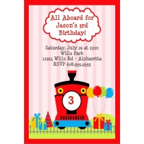Train  Invitation - Choo Choo Red
