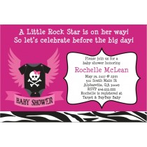 Rock Star Baby Shower Invitation - Pink