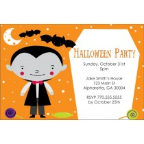 Kid Dracula Vampire Halloween Party Invitation