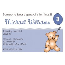 Teddy Bear with Blue Balloon Invitation