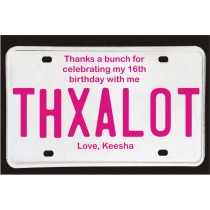 Sweet 16 License Plate Thank You Card