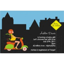 Baby On Board Baby Shower Invitation - Orange/Green