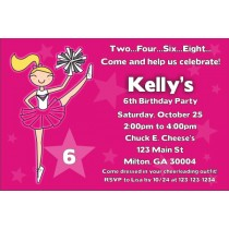 Cheerleading Cheerleader Invitation (Choose Colors)