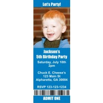 Photo Ticket Style Invitations (2.5x7) - Choose Your Color