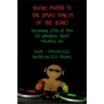 Gingerbread DJ Christmas Holiday Party Invitation