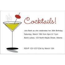 Cocktails Martini Glass Invitation