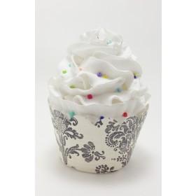 Vintage Black Damask Cupcake Wrappers - 24ct