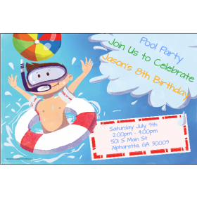 Big Splash Pool Party Invitation