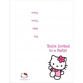 Hello Kitty  FREE Printable Birthday Party Invitation