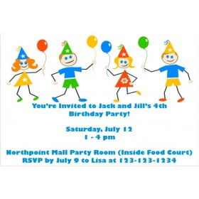 Kids with Balloons Birthday Party Invitations