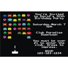 80s Vintage Arcade Video Game Invitation