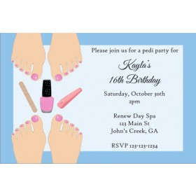 Pedicure Party Invitation - Light Skin