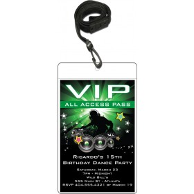 Nightclub DJ Dance Party VIP Pass Invitation w Lanyard - Green