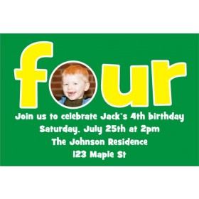 Fourth (4th) Birthday Photo Invitation  - ALL COLORS