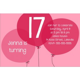 Pink Balloons Birthday Invitation