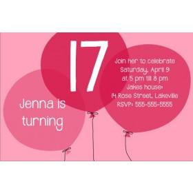 Pink Balloons Birthday Invitation