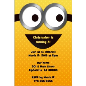 Yellow Minion Despicable Me Inspired Invitation