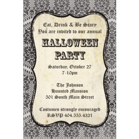 Damask Skull Halloween Party Invitation