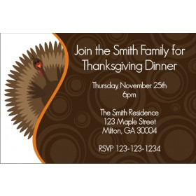 Gobble Gobble Turkey Thanksgiving Dinner Fall Autumn Invitation