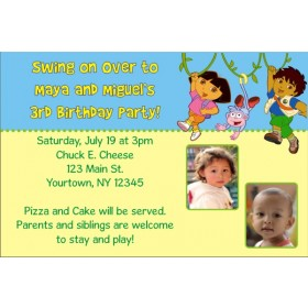 Dora and Diego Photo Invitations (2 Photos)