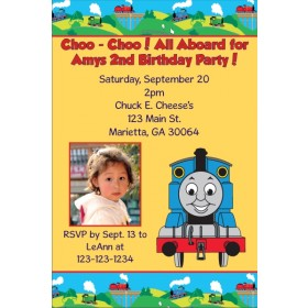 Thomas the Tank Engine (Train) Photo Invitations - Choo Choo Yellow