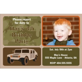 Army Military Humvee Photo Birthday Invitation