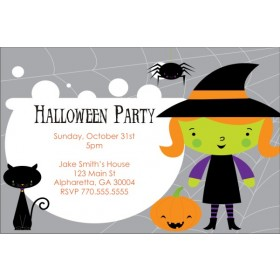 Cute Lil Witch Halloween Party Invitation