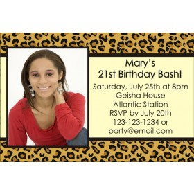Leopard Animal Print Photo Invitation (ALL COLORS)