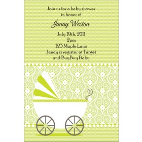 Cute Stroller Baby Shower Invitation - Green